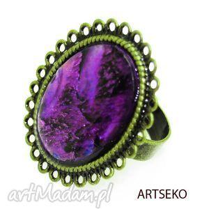 vitage paua fiolet pierścionek b440 - pierscionek, paua, muszla, retro, vintage