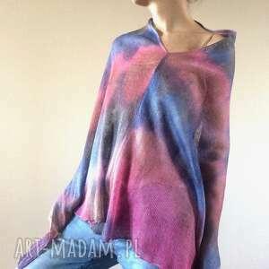 lniane ponczo pink blue, ponczo, narzutka, bluzka, sweter, len, prezent