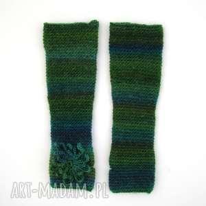 Prezent mitenki w zieleniach z ozdobą, mitenki, rękawiczki, prezent, oryginalne