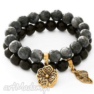 Black labradorite & onyx with pendants. - ,labradoryt,onyx,kwiatek,listek,