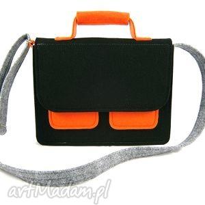 Mess gray-black-orange - ,torebka,teczkal,listonoszka,modna,