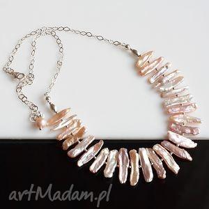 Perły Biwa - naszyjnik, perły, biwa, srebro, ślub, naszyjnik