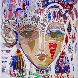 obraz ręcznie namalowany 70x50 cm - stęskniona, obraz, malarstwo, twarz, kobieta