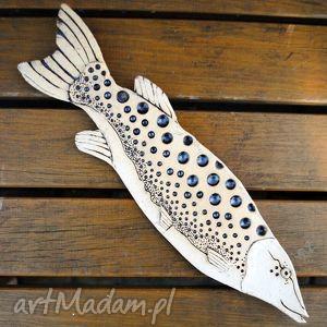 Nakrapiana B - ceramiczna ryba na ścianę, użytkowe, zawieszka, dekor, ceramika