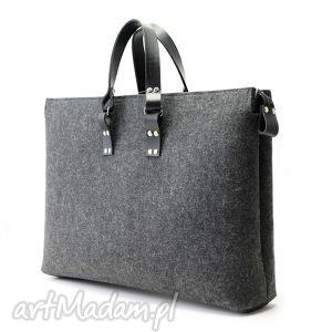męska filcowa torba ul szeroka, filc, skóra, duża, unisex, laptop, sportowa torebki