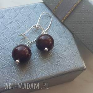 brązowe perły swarovski w srebrze kolczyki srebro 925, perły, swarovski, srebrne
