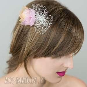 ozdoby do włosów grzebyk pastelowy, grzebyk, pastele, woalka, róż