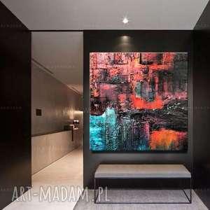 duzy obraz kolorowa abstrakcja, turkusowe dekoracje, do salonu, nowoczesna