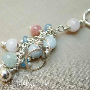 naszyjnik ze srebra i morganitu - srebro, lekki, wisiorek, gronko, pastelowy, kobiecy