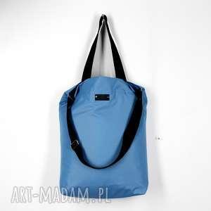 shopperka niebieska pojemna wodoodporna torba na ramię, torba