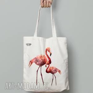 torba bawełniana flamingi, torebka, flaming, różowa, lowpoly