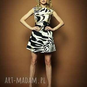 sukienki summer - sukienka ze zwierzęcym printem, tkanina, sukienka, elegancka