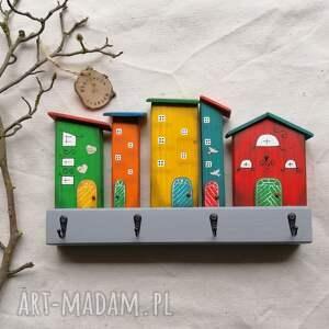 multikolorowe domki - wieszak no 4, dom domek, drewniany, ozdoba do domu
