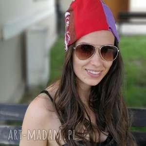 Czapka damska na podszewce szyta patchworkowo czapki ruda klara