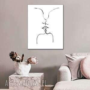 grafika pocałunek 4, 70 x 90, biało czarna grafika na ścianę, styl