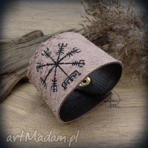 skórzana męska bransoleta na zatrzask vegvisir - kompas wikingów, wiking