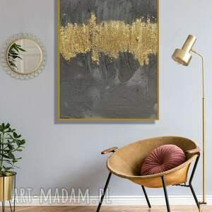 ręcznie wykonany obraz z betonu oraz złota do designerskiego wnętrza 70x50 cm
