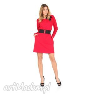 45-sukienka z kokardą,czerwona,rękaw długi,pasek , lalu, sukienka, dzianina, bawełna
