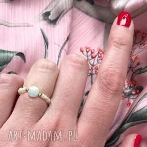 pierścionek - morganit zielony, morganit, hematyt, perły, kamienie naturalne