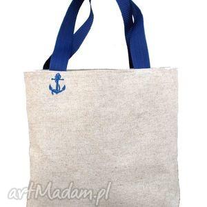 torebki tote polski len - marine, torba, lniana, len, marynarska, marine