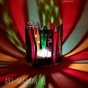 świecznik lampion witrażowy bajecznie kolorowy prezent extra dla kochających