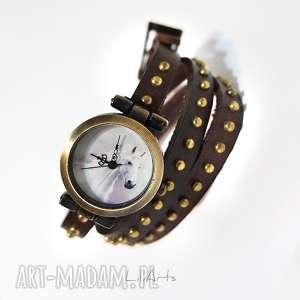 hand-made zegarki bransoletka, zegarek - biały koń brązowy, nity