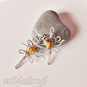 Kolczyki wire wrapping, z drutu miedzianego /1/, kolczyki, wirewrapping, miedż