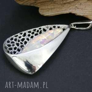 wisiorek srebrny z opalem - zawieszka, wisiorek, opal, srebrny, masywny