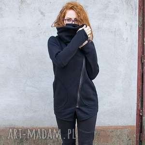 Bluza Ragini czarna asymetryczna, ciepła, na-zamek, długa,