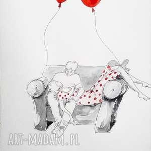 PODWÓJNE FLOW praca akwarelą i piórkiem artystki plastyka Adriany Laube, relaks