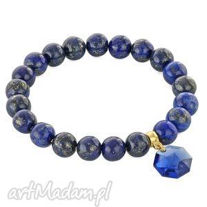 lapis lazuli stone with swarovski pendant - szafir