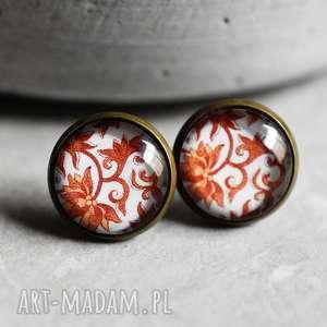 orientalne malowidła ii kolczyki wkręty, orient, wzory, lekkie, wkrętki, pomarańczowe