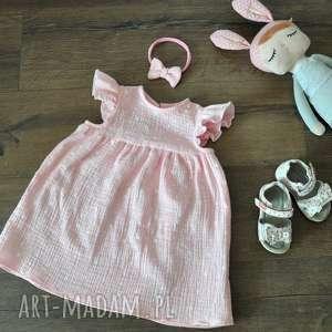 Muślinowa sukienka w kolorze pudrowy róż, muślin, bawełna, falbanka, gwiazki, cotton
