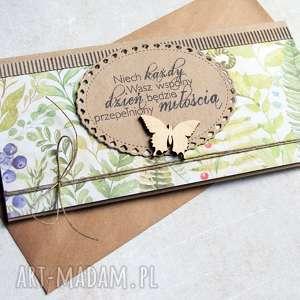 kartka - kopertówka leśne życzenia, ślub