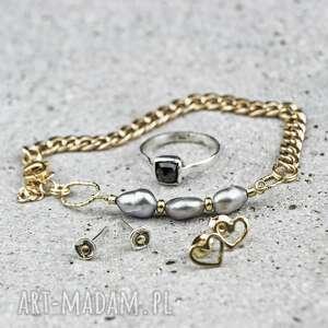 bransoletka szare perły na łańcuchu, perły, pancerka, łańcuch