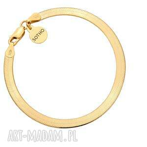 złota bransoletka snake - pozłacana, płaska, elegancka musthve