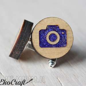 ręcznie robione spinki do mankietów drewniane aparat seria color