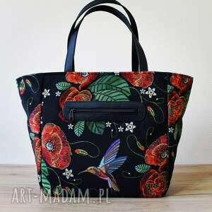 shopper bag z kieszonką - maki, elegancka, nowoczesna, shopper, prezent