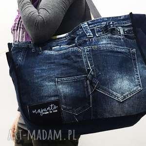 majunto duża torba upcykling jeans 26 z zamkiem, upcykling