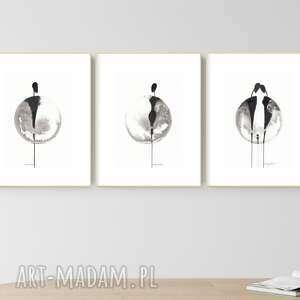 zestaw 3 grafik a4 wykonanych ręcznie, grafika czarno-biała, abstrakcja