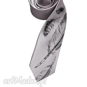 Prezent Krawat w pióra, krawat, śledzik, nadruk, piórko, prezent