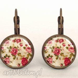 retro róże - małe kolczyki wiszące, vintage, kobiece