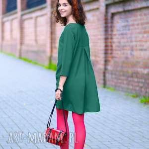 sukienki sukienka z kontrafałdą na plecach, t283, szmaragdowy, elegancka, luźna