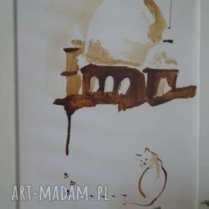niepałacowy kot - obraz kawą malowany, coffeepainting, kawa, kot, zamek, ślady