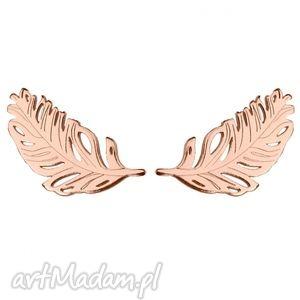 kolczyki piórka z różowego złota - pozłacane, sztyfty