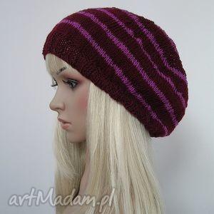 duża czapka w stylu boho - fiolet i róż - czapka, boho, duża, modna, paski