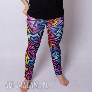 legginsy damskie zygzak, kolorowe legginsy, dla kobiety, czarne