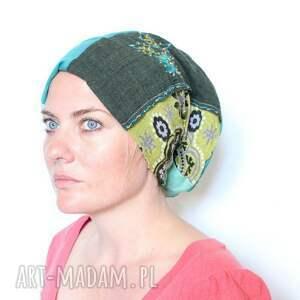 czapka patchworkowa Na pietruszce hoduję ślimaka cwaniaka, patchwork, bawełna, miekka