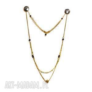naszyjnik z onyksami - naszyjnik, onyks, srebro, złocone, 925