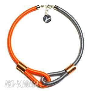 Multicolor /grey & orange/ - nowoczesny, dwukolorowy, minimalistyczny, naszyjnik, modny, unikatowy